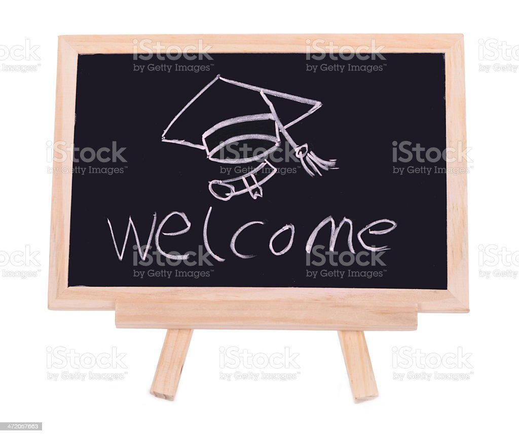 word 'welcome' - white chalk handwriting on small school wooden stock photo
