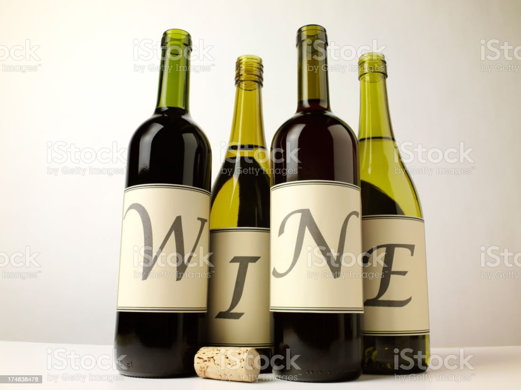 Word Wine on Drink Bottles royalty-free stock photo