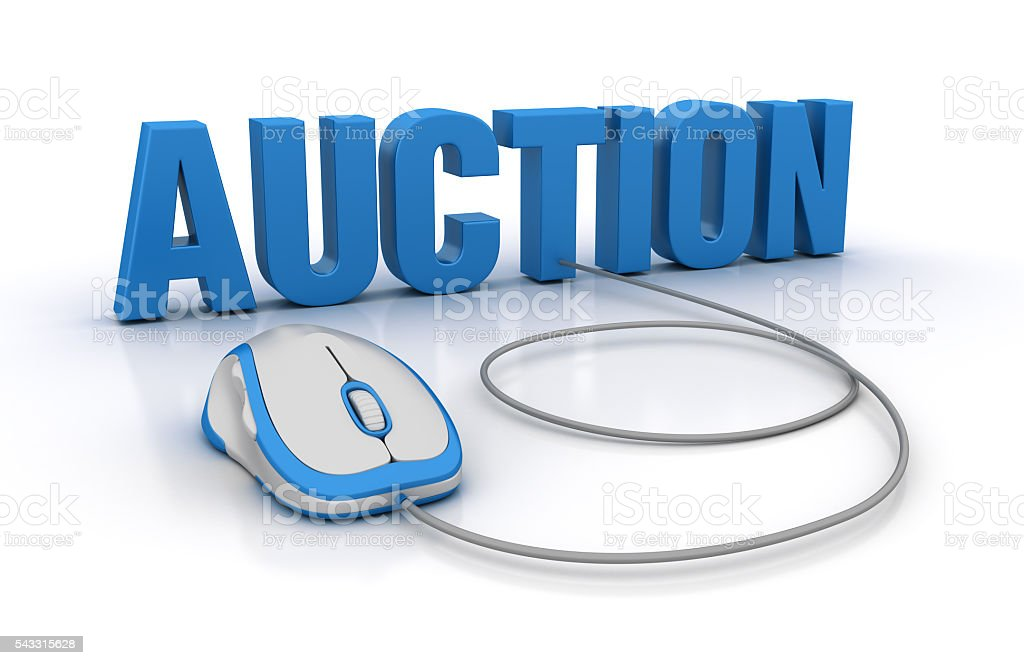 AUCTION Word with Computer Mouse stock photo