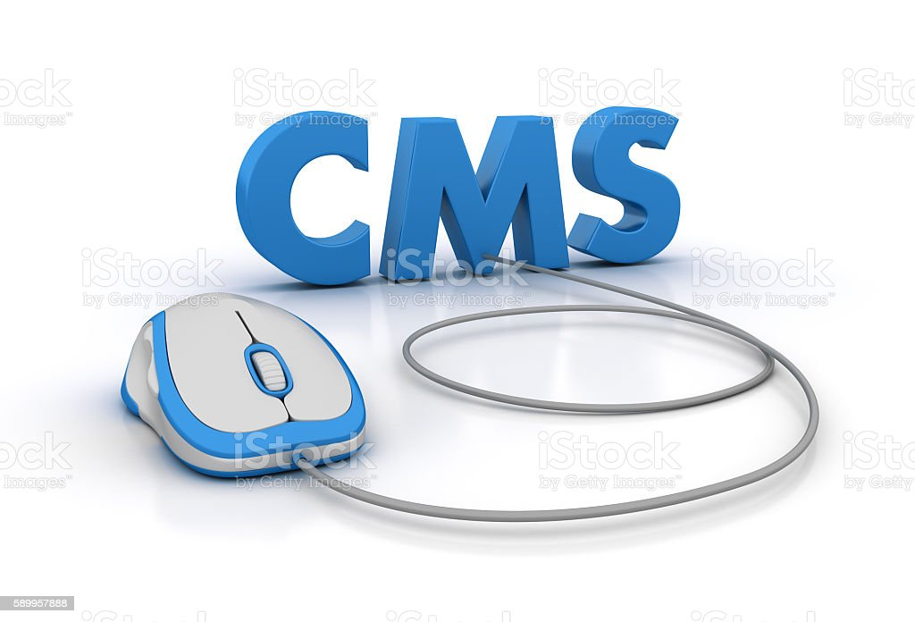 CMS Word with Computer Mouse stock photo