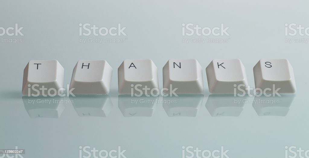 THANKS Word with Keys royalty-free stock photo