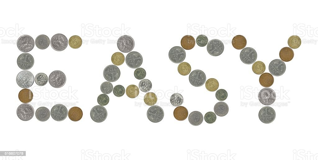 EASY word with old coins stock photo