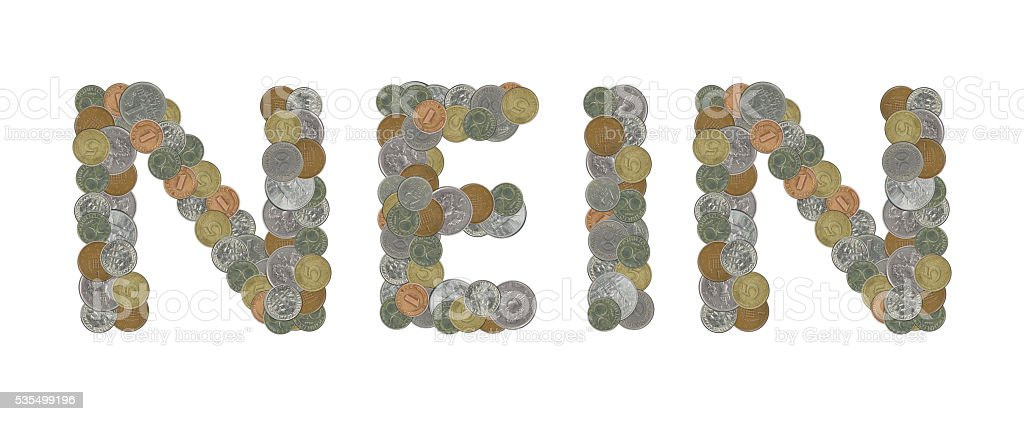 NEIN word with Old Coins stock photo