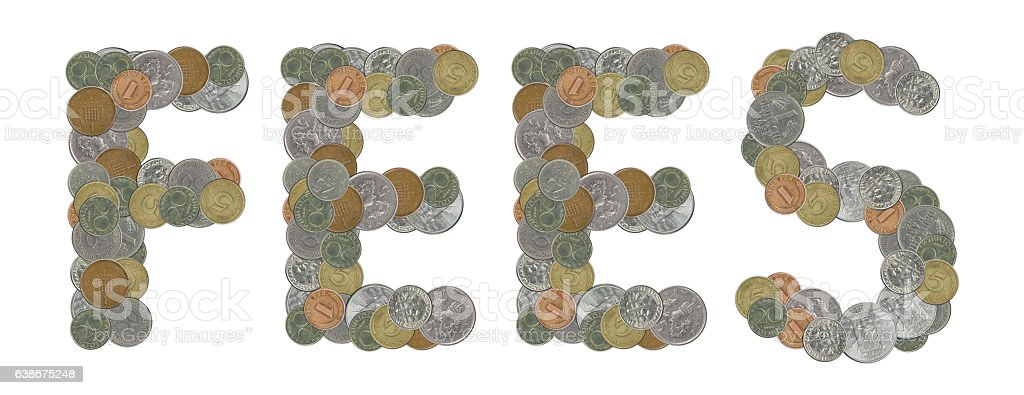 FEES word with Old Coins stock photo