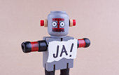 JA! word with standing Robot