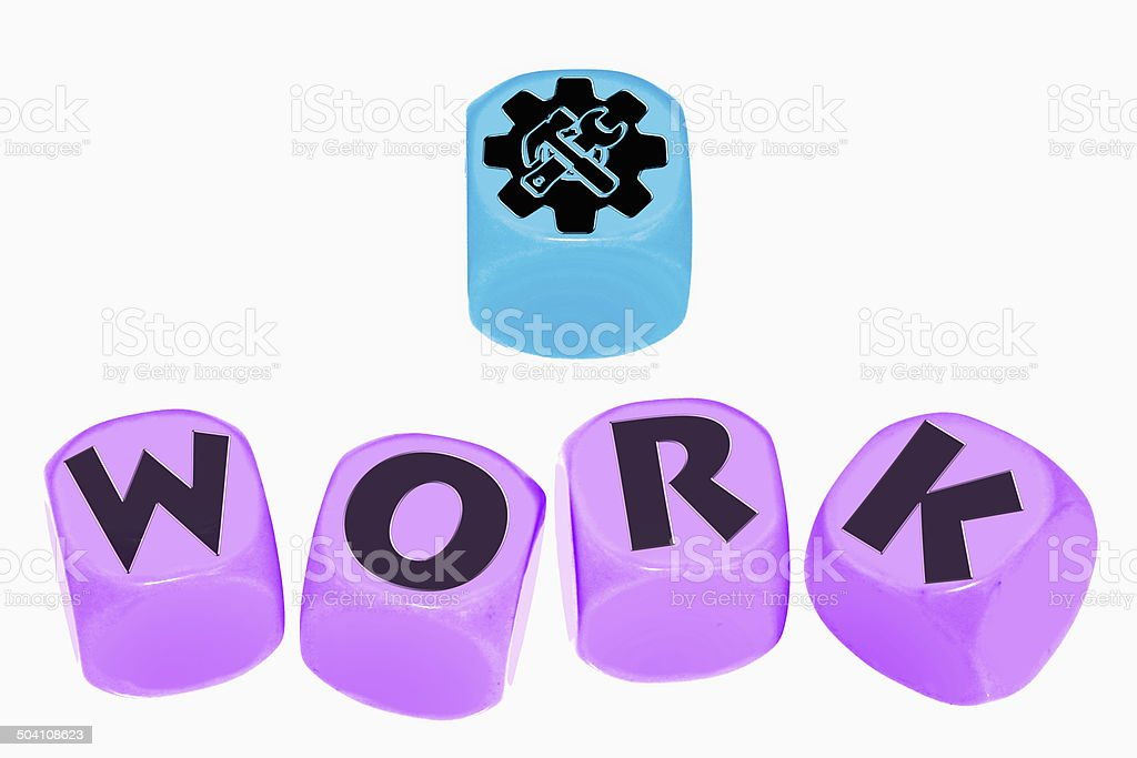 word WORK on cubes stock photo