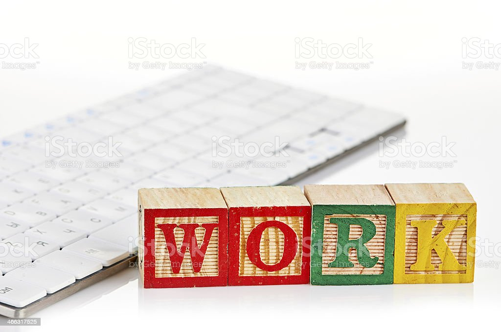 word work on keyboard stock photo