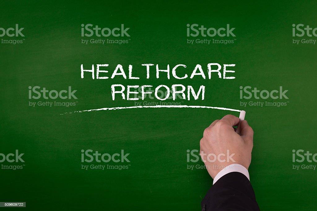 HEALTHCARE REFORM word written by hand on blackboard stock photo