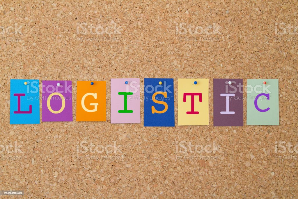 LOGISTIC word written on colorful sticky notes pinned on cork board. stock photo