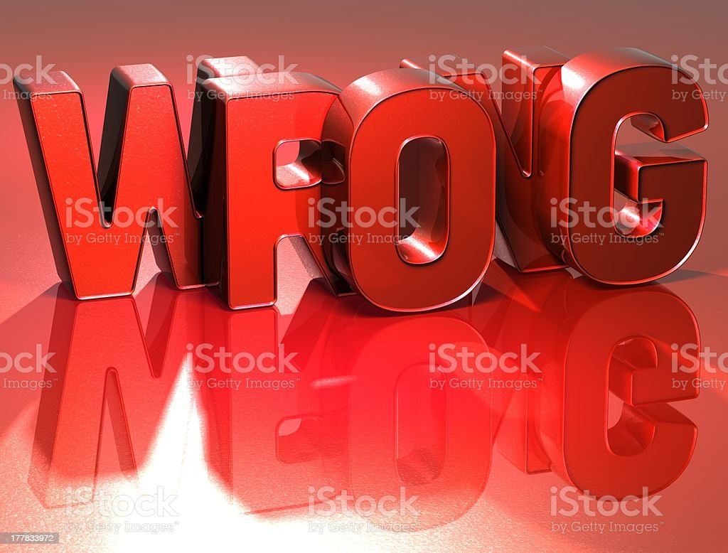 3D Word Wrong on red background royalty-free stock photo