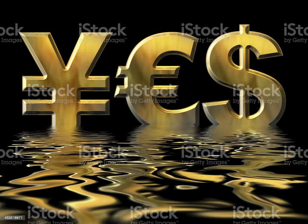 Word YES written by gold symbols of yen, dollar, euro royalty-free stock photo