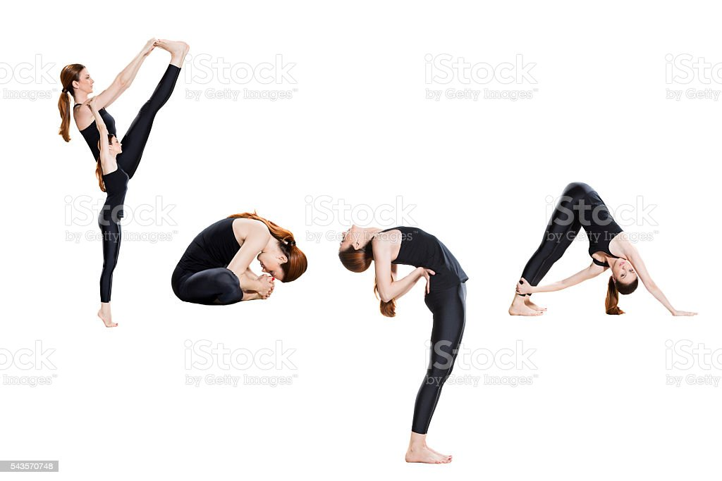 Word yoga spelled in poses stock photo