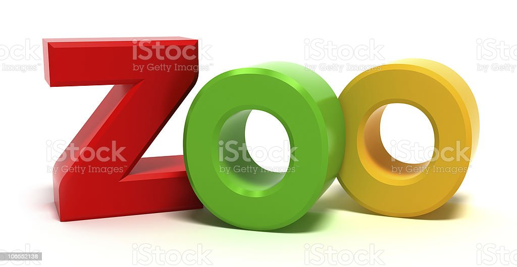 Word Zoo with colourful letters stock photo
