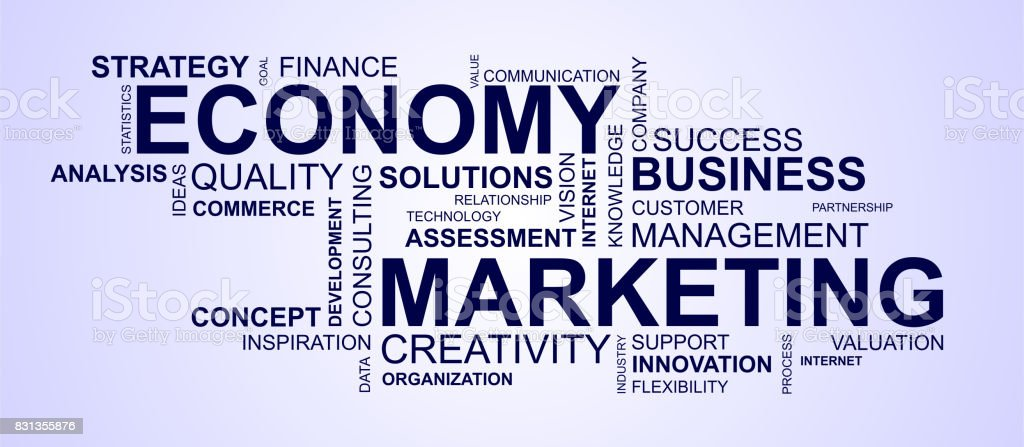 wordcloud for business and economy stock photo