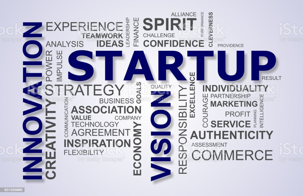 wordcloud for business and startup stock photo