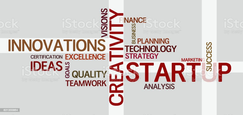 wordcloud for creativity, startup and economy stock photo