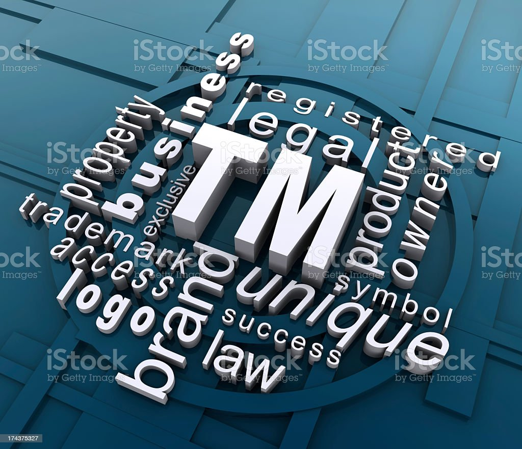 Words associated with a company trademark stock photo