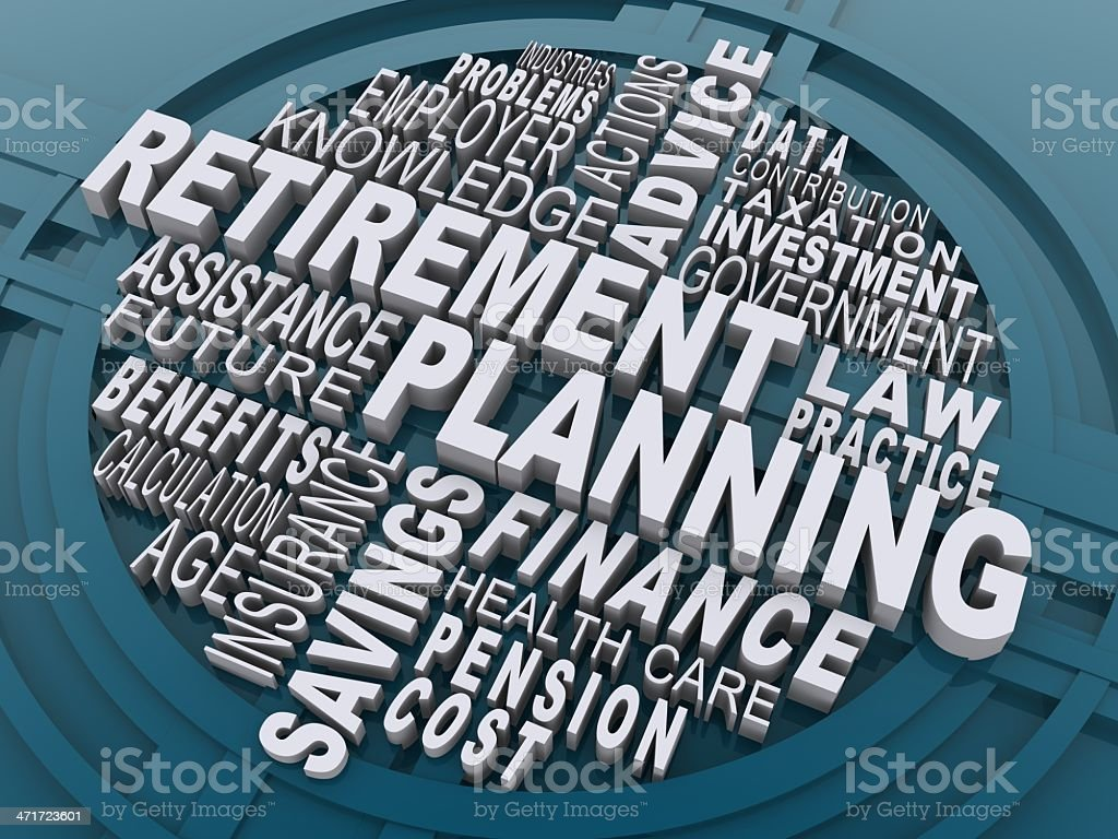 Words associated with retirement planning stock photo