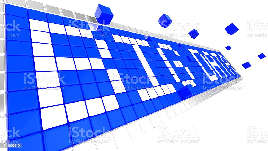 Words big data made from blue and white cubes stock photo