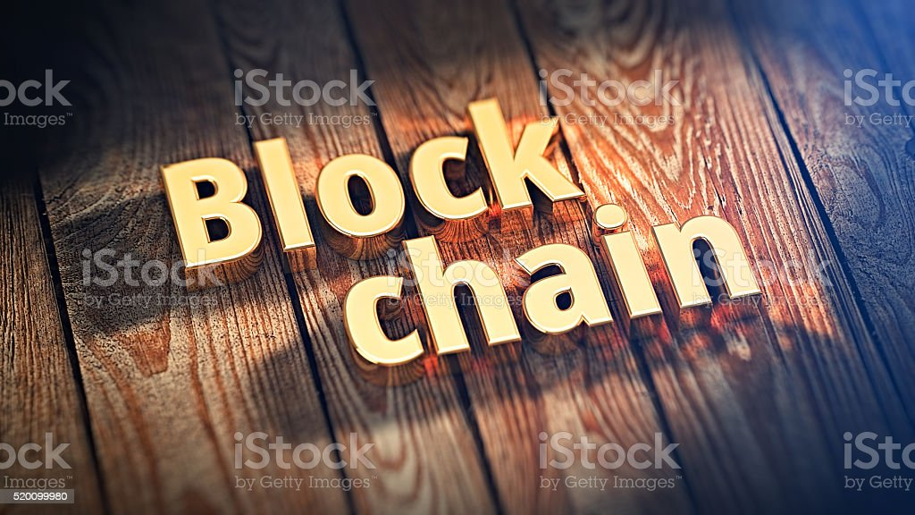Words Block chain on wood planks stock photo