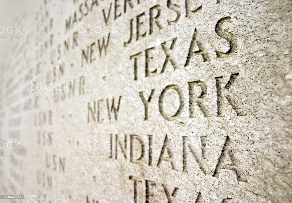 Words carved in Stone New York royalty-free stock photo