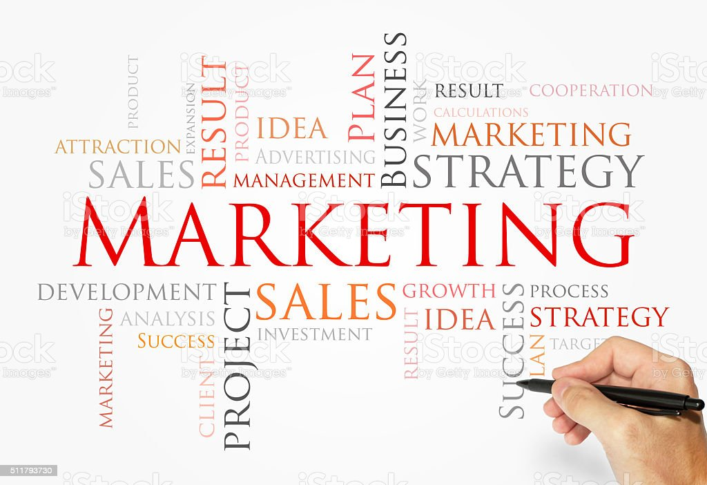 MARKETING words concept, business concept stock photo