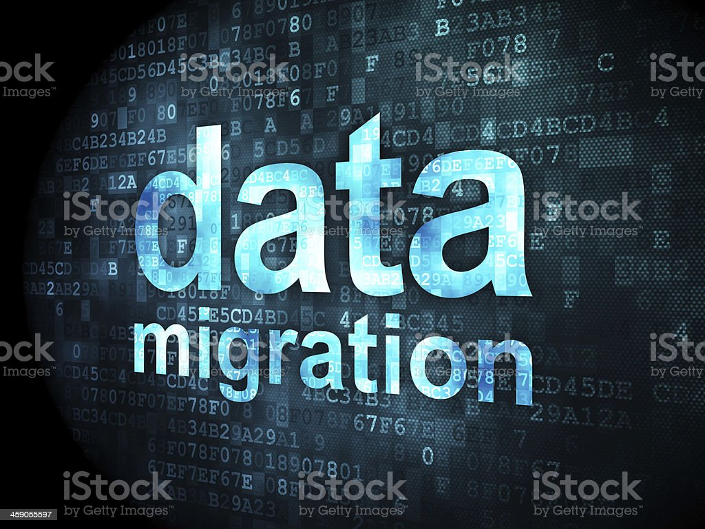 Words Data Migration on digital background stock photo