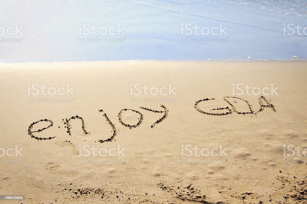 Words Enjoy Goa Written in the Sand on a Beach royalty-free stock photo