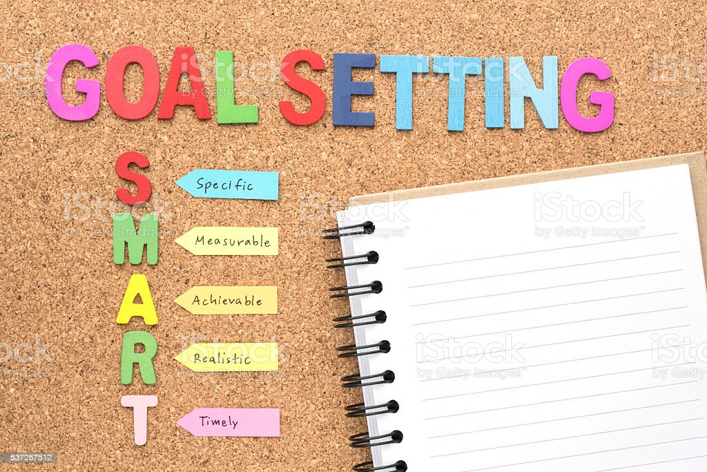 Words goal setting and smart with notebook stock photo