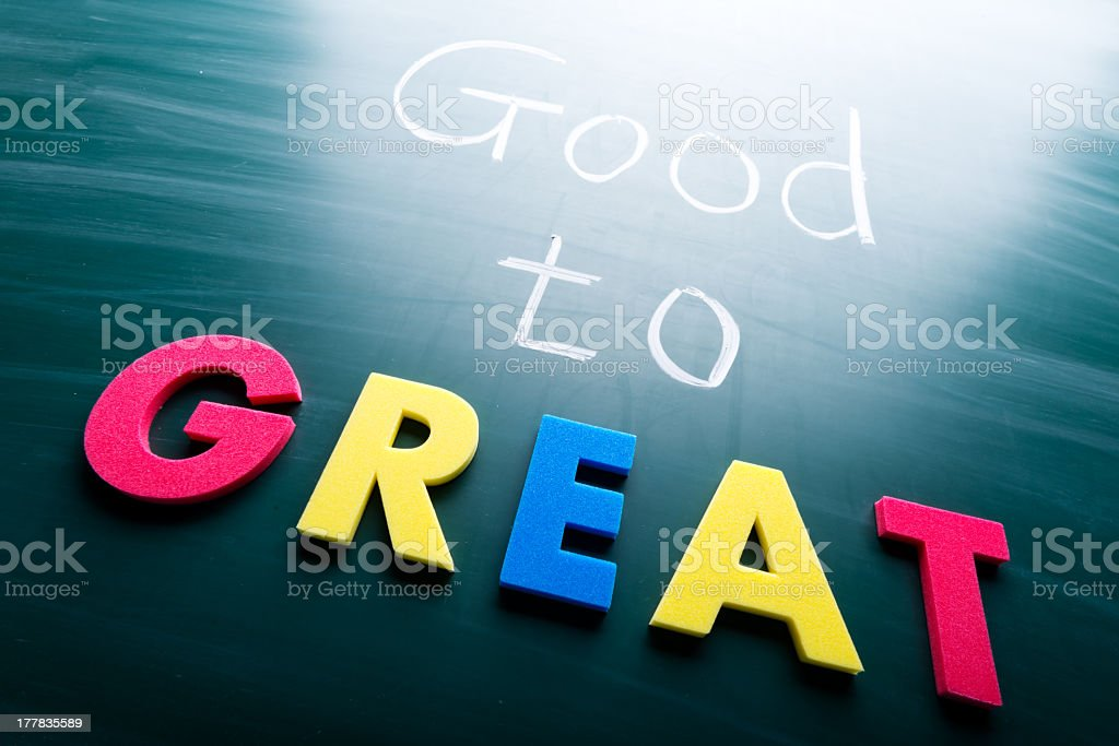 Words good to great on a blackboard royalty-free stock photo