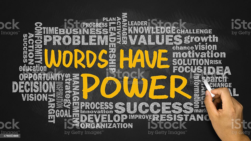 words have power with related word cloud stock photo