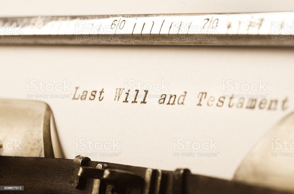 words last will and testament written on typewriter stock photo