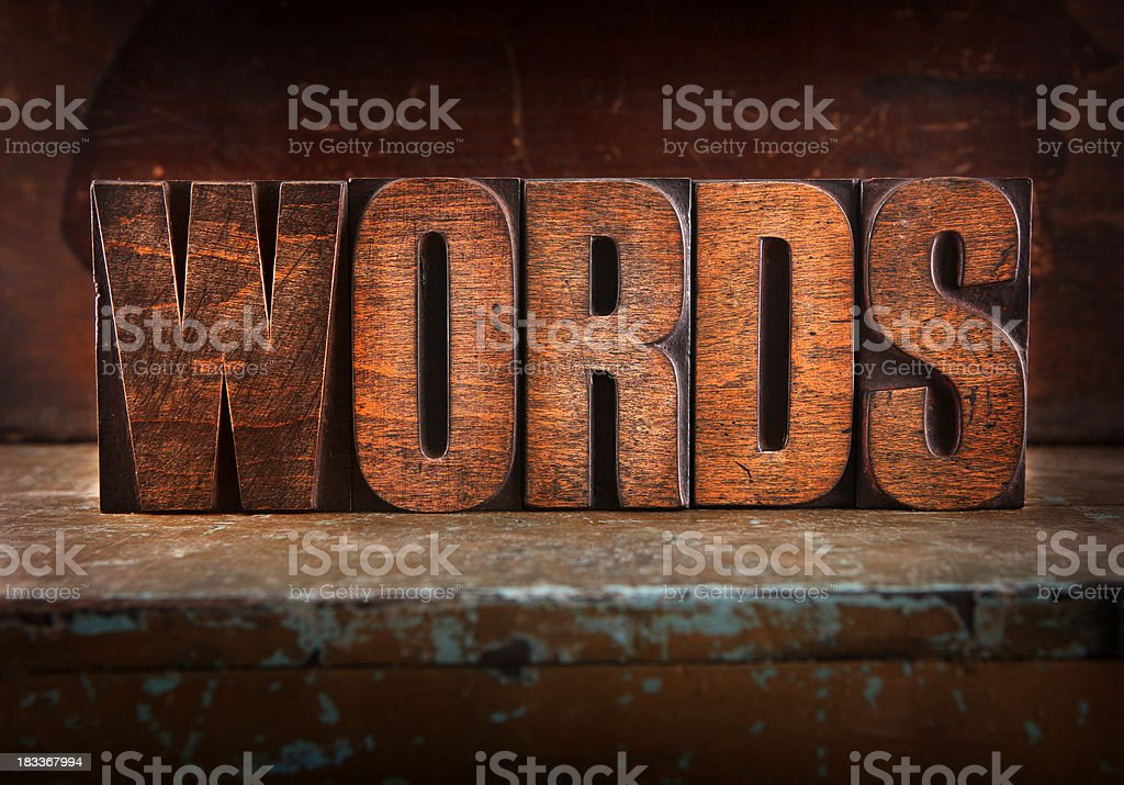 Words - Letterpress letters royalty-free stock photo