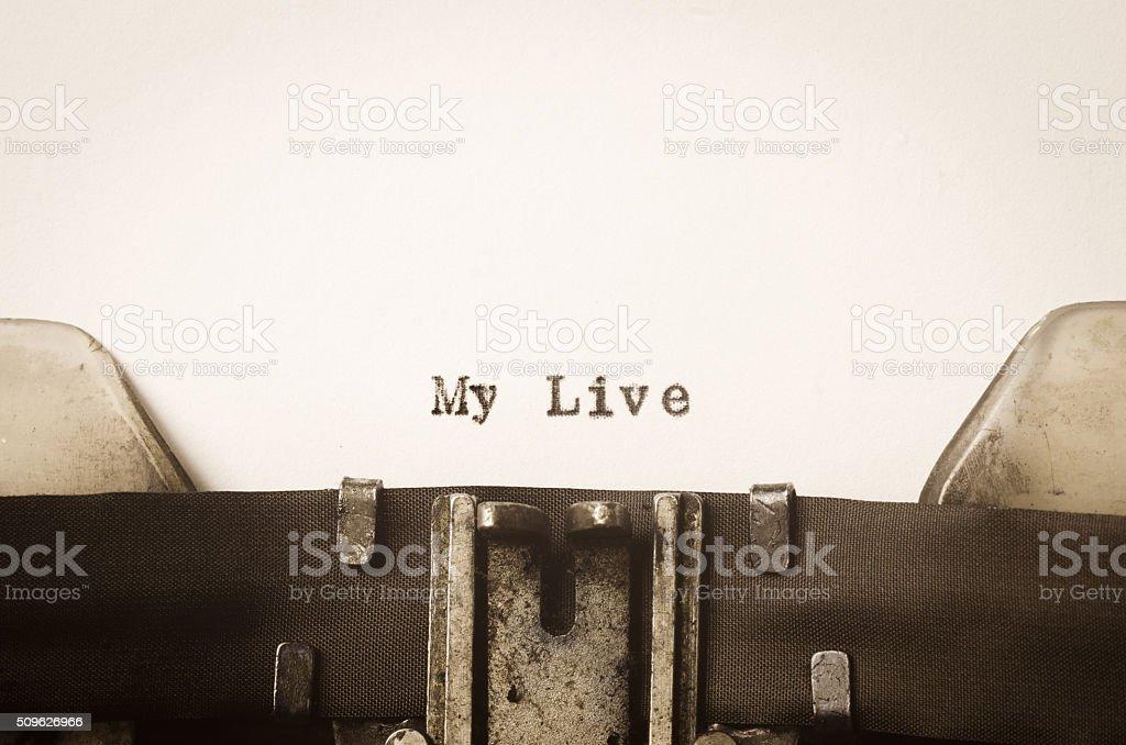 words my life  written on typewriter stock photo