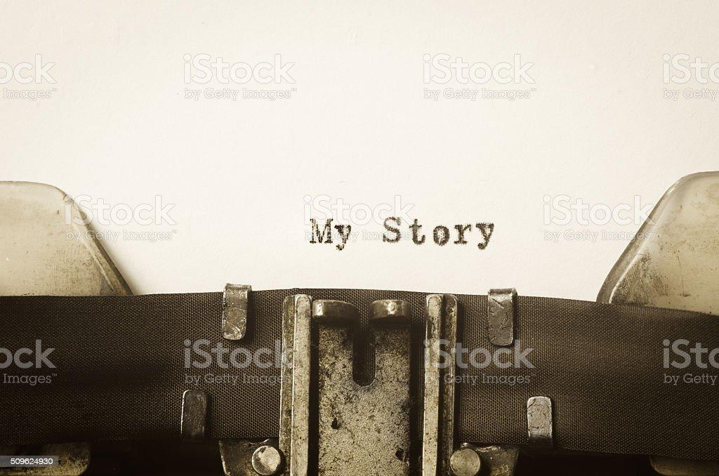 words my story  written on typewriter stock photo
