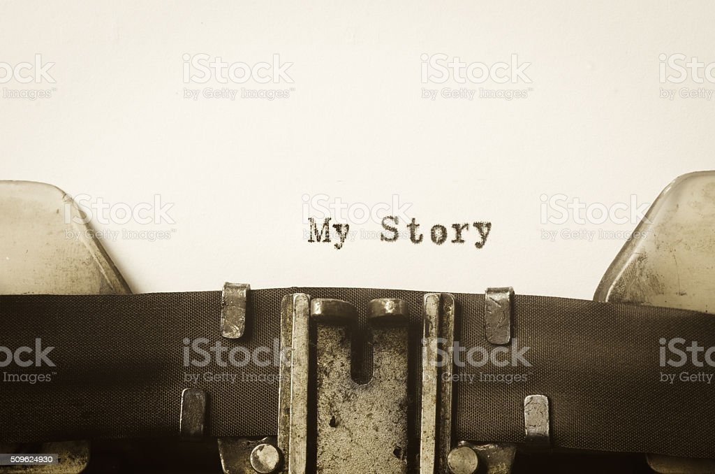 words my story  written on typewriter stock photo