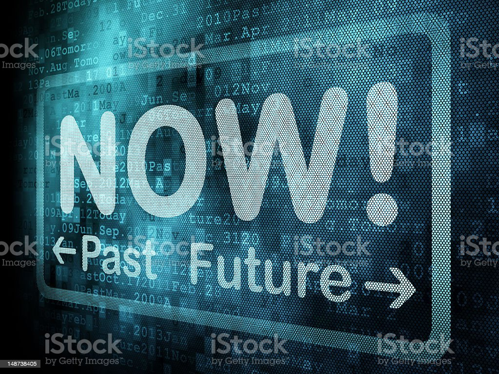 Words Now Past Future over digital pixeled screen stock photo