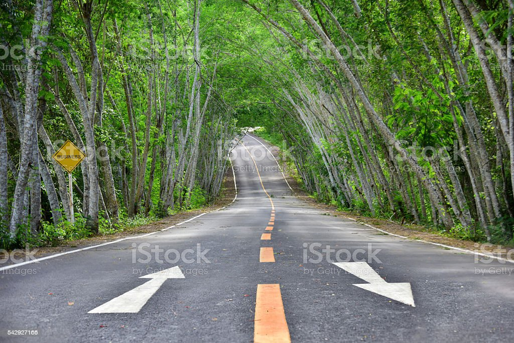 Words of business on road surface stock photo