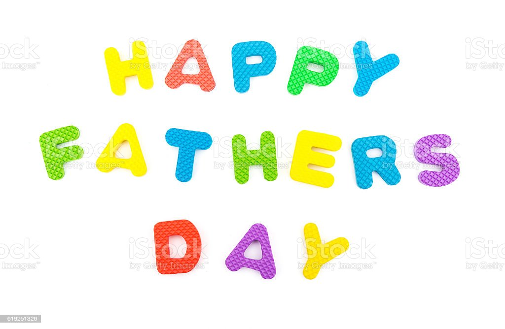 words of happy fathers day shaped by alphabet jigsaw puzzle stock photo