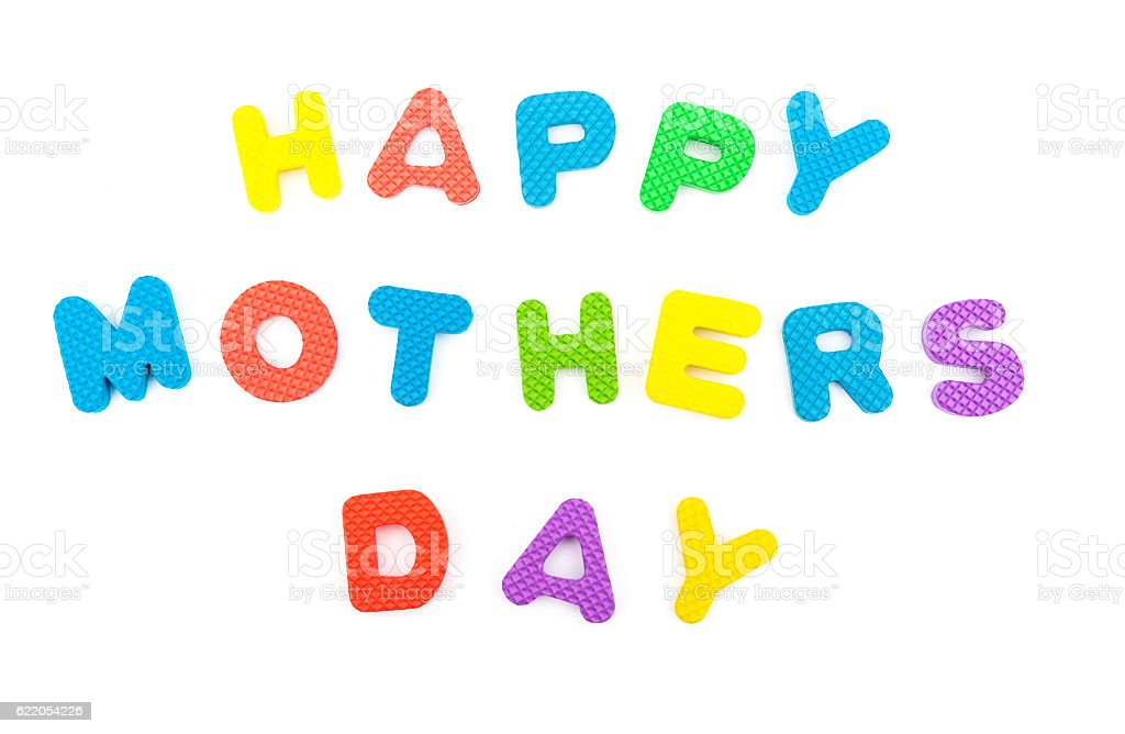 words of happy mothers day shaped by alphabet jigsaw puzzle stock photo
