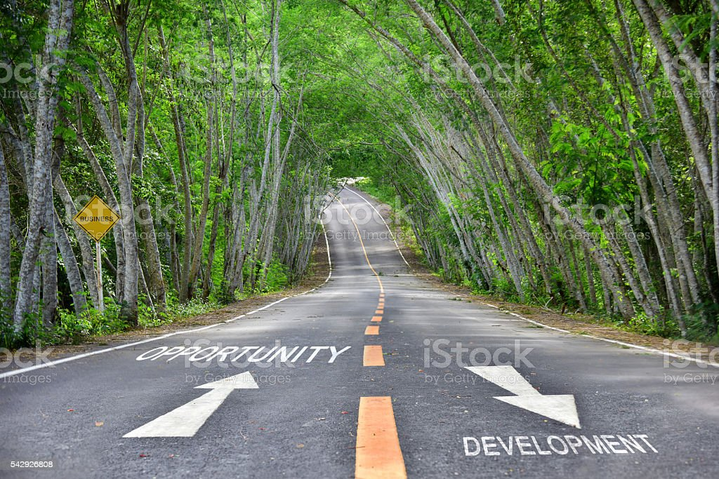 Words of opportunity and development on road stock photo