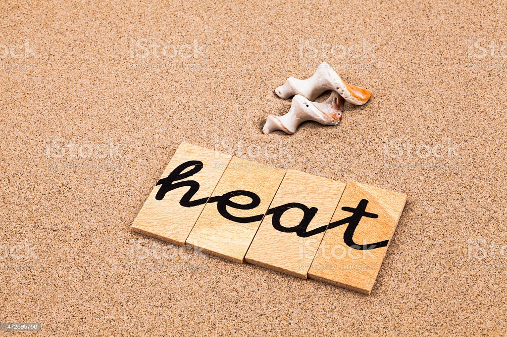 Words on sand heat stock photo