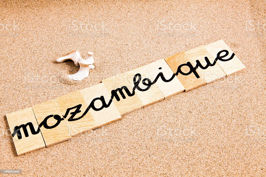 Words on sand mozambique stock photo