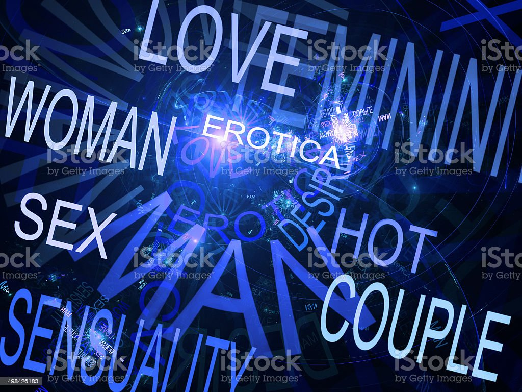 Words related with sexuality, blue fractal background royalty-free stock photo