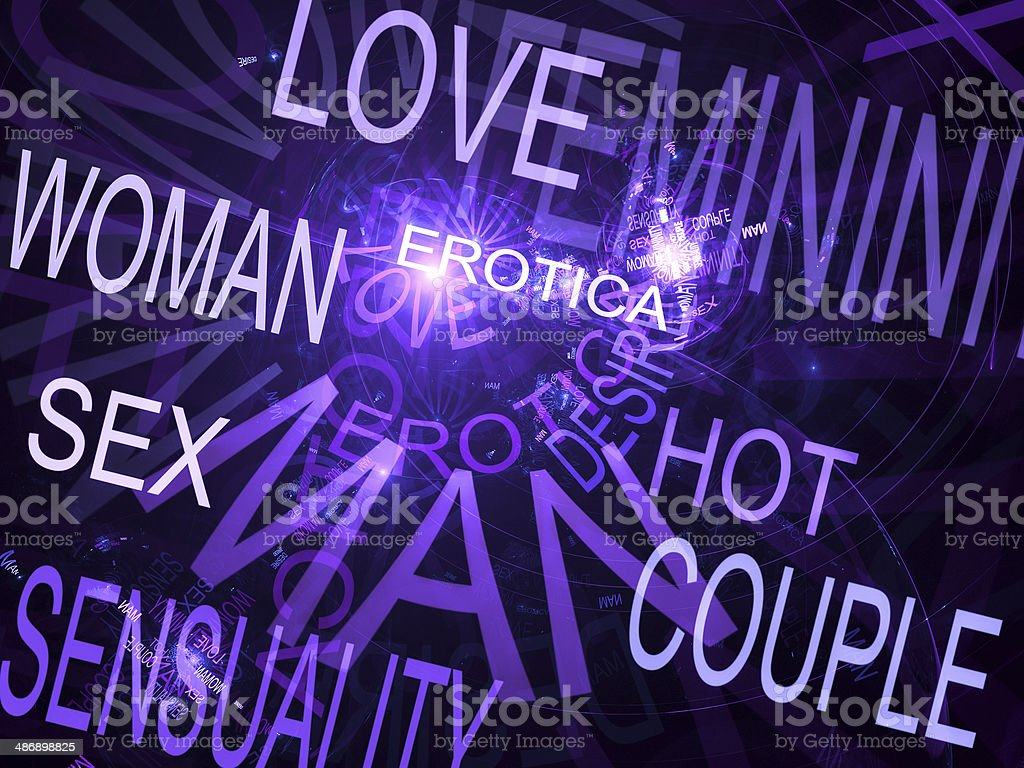 Words related with sexuality, purple fractal background royalty-free stock photo