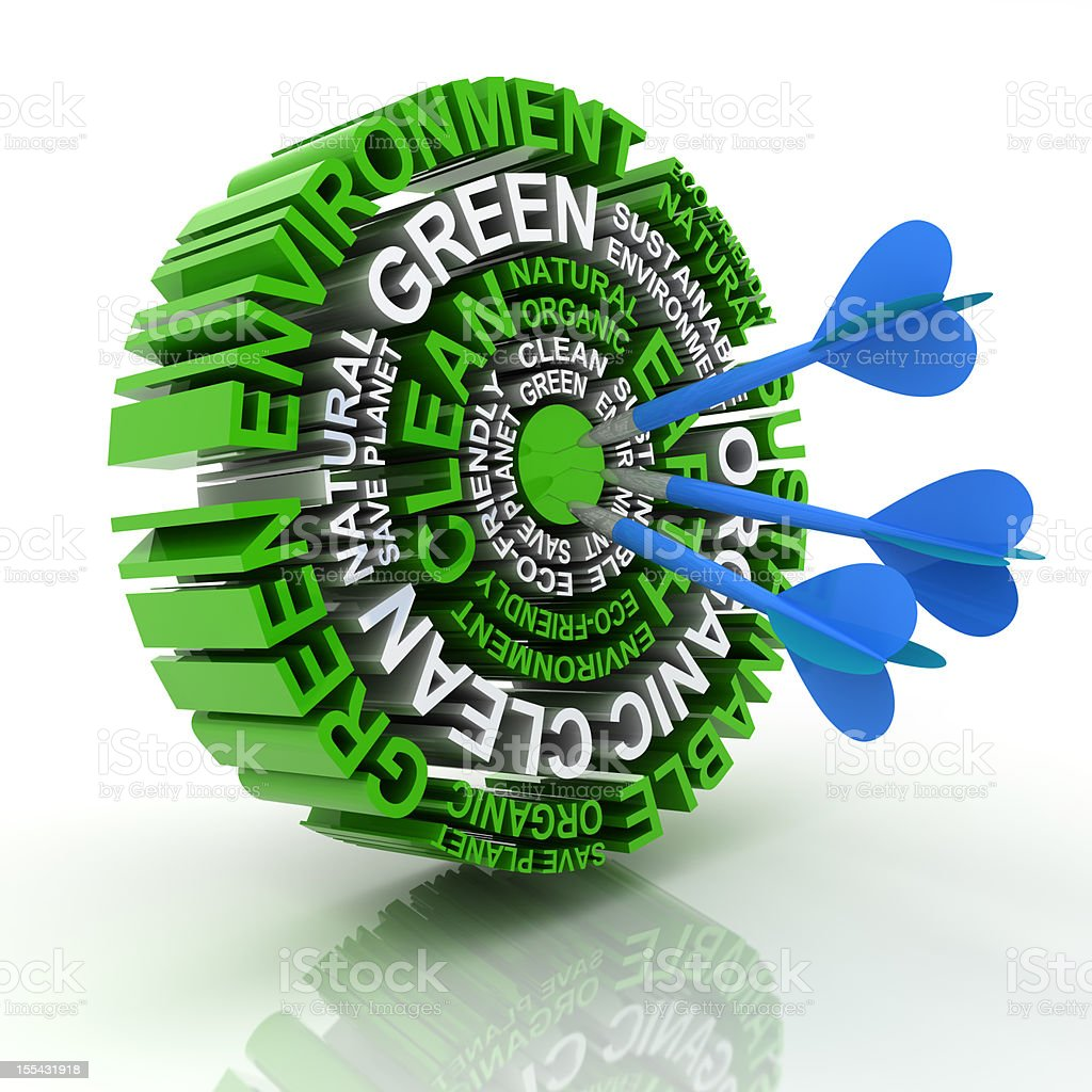Words relevant to clean energy as a target with a dart royalty-free stock photo
