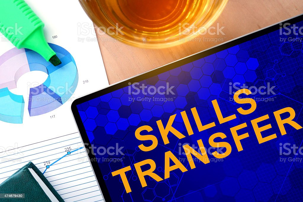 Words Skills Transfer on the tablet and charts. stock photo