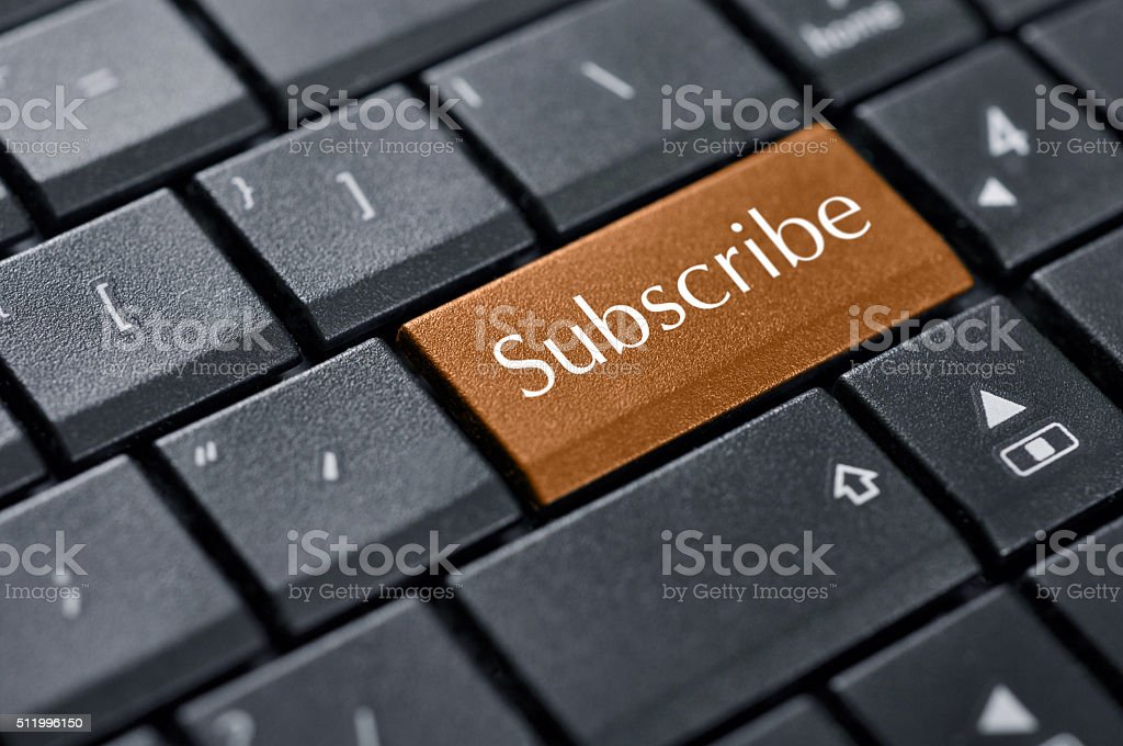 Words subscribe on button stock photo