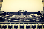 Words 'Thank you' written with old typewriter