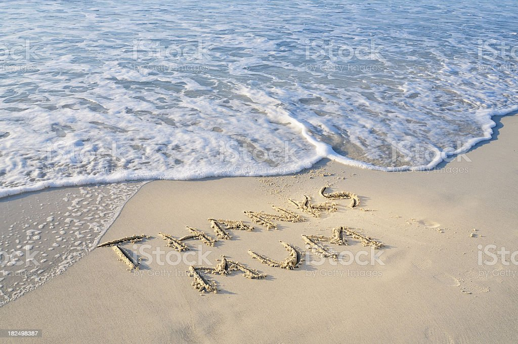 Words Thanks Mom Written in the Sand on Mother's Day royalty-free stock photo